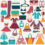 Icônes de vintage de vêtements et d'accessoires Photos stock