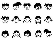Icônes de visage d'émotion de filles illustration stock