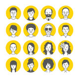 Icônes de visage d'avatar de personnes Photographie stock libre de droits