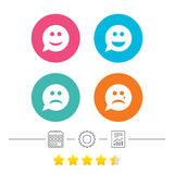 Icônes de visage de sourire de bulle de la parole Heureux, triste, cri illustration stock