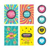Icônes de visage de sourire de coeur Heureux, triste, cri illustration stock