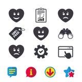 Icônes de visage de sourire de coeur Heureux, triste, cri illustration de vecteur