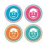 Icônes de visage de sourire de frappeur Heureux, triste, cri illustration libre de droits