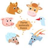 Icônes de visages d'animaux de ferme réglées Animaux de ferme : Poule, chèvre, oie, cheval, vache, porc, mouton Images libres de droits