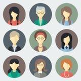 Icônes de visages de femelle réglées Photographie stock libre de droits