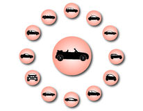 Icônes de voiture Images libres de droits