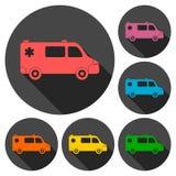 Icônes de voiture d'ambulance réglées avec la longue ombre illustration stock