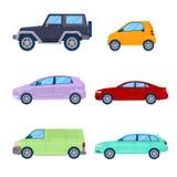 Icônes de voitures de ville réglées avec la berline, le Van et le véhicule tous terrains Images libres de droits