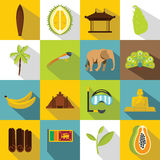 Icônes de voyage de Sri Lanka réglées, style plat Photo libre de droits