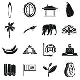 Icônes de voyage de Sri Lanka réglées, style simple Photo libre de droits
