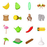 Icônes de voyage de Sri Lanka réglées, style de bande dessinée Images stock