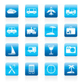 Icônes de voyage, de transport, de tourisme et de vacances Photos stock