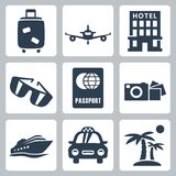 Icônes de voyage de vecteur réglées Photo stock
