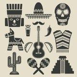 Icônes de voyage du Mexique réglées illustration de vecteur