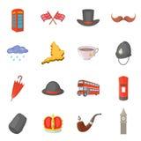 Icônes de voyage du Royaume-Uni réglées, style de bande dessinée Photo libre de droits