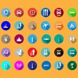 Icônes de voyage réglées dans un style plat Images libres de droits
