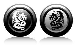 Icônes de Web avec des dragons illustration de vecteur