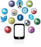 icônes de Web avec le téléphone portable Image libre de droits