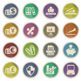Icônes de Web d'affaires et de finances Photographie stock