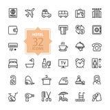 Icônes de Web d'ensemble réglées - services hôteliers illustration de vecteur