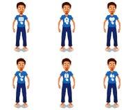 Icônes de Web sur le personnage de dessin animé Photographie stock