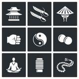 Icônes de Wing Chun Illustration de vecteur Photographie stock