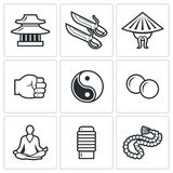 Icônes de Wing Chun Illustration de vecteur illustration stock