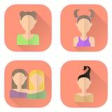Icônes de zodiaque des femmes dans le style plat Bélier, Gémeaux, Taureau, Scorpion Illustration de Vecteur