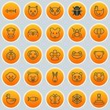 Icônes de zoologie réglées Collection de chaton, d'animal Trunked, de serpent et d'autres éléments Inclut également des symboles  Image libre de droits