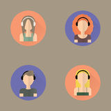 Icônes des écouteurs de port de personnes Illustration Libre de Droits
