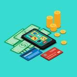 Icônes des achats en ligne sur l'écran de smartphone illustration de vecteur