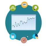 Icônes des analytics, des diagrammes et des graphiques financiers illustration de vecteur