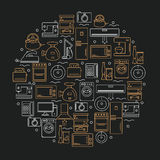 Icônes des appareils ménagers placés dans un cercle Icônes des appareils ménagers sur un fond foncé Illustration de vecteur Image stock