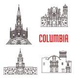 Icônes des bâtiments célèbres colombiens illustration stock