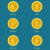 Icônes des pièces d'or avec des images des devises de différents pays Photos stock