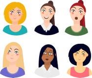 Icônes des portraits de femmes, différentes courses, différentes émotions, ensemble de personnes d'avatars Stedenrt, scientifique illustration de vecteur