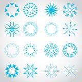 Icônes des rayons de Sun réglées - d'isolement sur Gray Background Images libres de droits