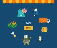 Icônes des symboles de commerce électronique et des achats d'Internet illustration de vecteur