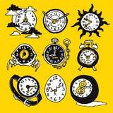 Icônes drôles de bande dessinée avec la montre illustration libre de droits
