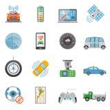 Icônes Driverless de véhicule autonome de voiture réglées Photo libre de droits