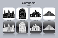 Icônes du Cambodge Illustration de Vecteur