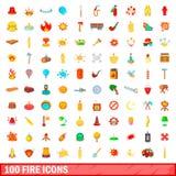 100 icônes du feu réglées, style de bande dessinée Image libre de droits