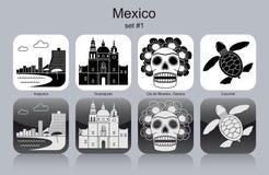 Icônes du Mexique illustration stock