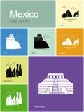 Icônes du Mexique illustration de vecteur
