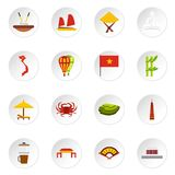 Icônes du Vietnam réglées, style plat Photos stock