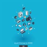 Icônes du Web 3d intégrées parélectronique Concept isométrique de réseau de Digital Image stock