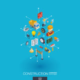 Icônes du Web 3d intégrées par construction Concept isométrique de réseau de Digital illustration stock