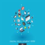 Icônes du Web 3d intégrées par développement Concept isométrique de réseau de Digital Photographie stock