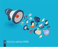 Icônes du Web 3d intégrées par media social Concept de croissance et de progrès illustration libre de droits