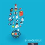 Icônes du Web 3d intégrées par Science Concept de croissance et de progrès Photos libres de droits